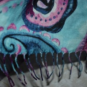 Nordstrom Teal Paisley Pop Wool Cashmere Scarf New
